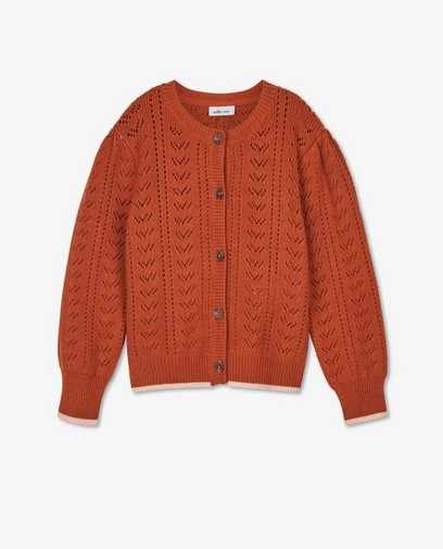 Oranje cardigan met ajour