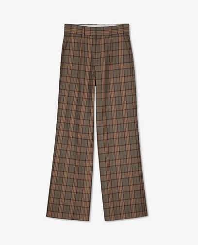 Pantalon brun à carreaux Sora