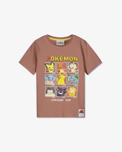 T-shirt brun à imprimé Pokémon