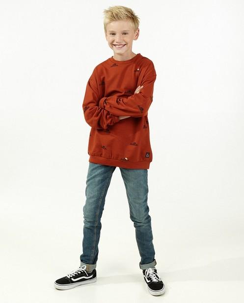 Oranje sweater met print Campus 12 - allover - Campus 12