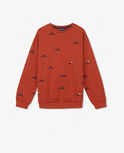Oranje sweater met print Campus 12