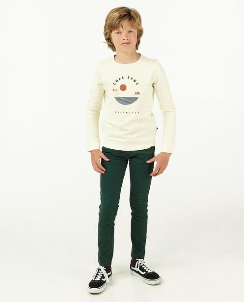 Crème sweater met print Campus 12 - met fleece - Campus 12