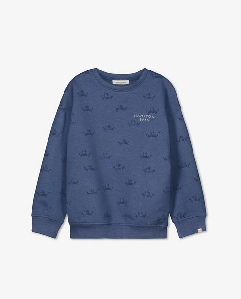 Biokatoenen sweater Hampton Bays - blauw met print - Hampton Bays
