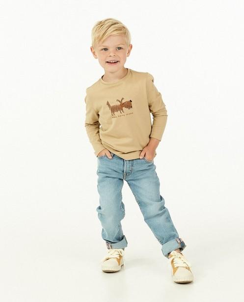 T-shirt à manches longues en coton bio à imprimé Samson - beige - Fred & Samson