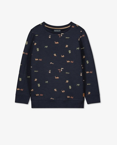 Donkerblauwe sweater met print Samson