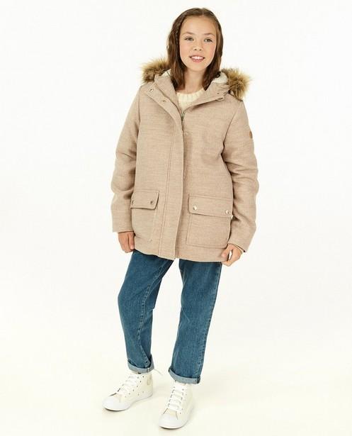 Wollen jas in beige, 7-14 jaar - met faux fur - Fish & Chips