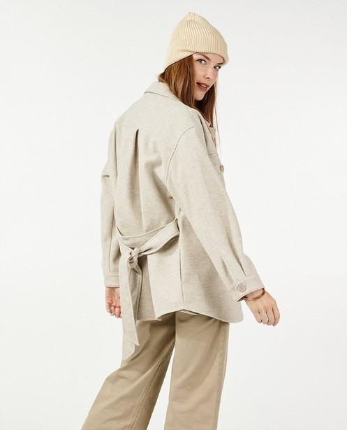Manteau beige en laine Sora - ceinture à nouer - Sora