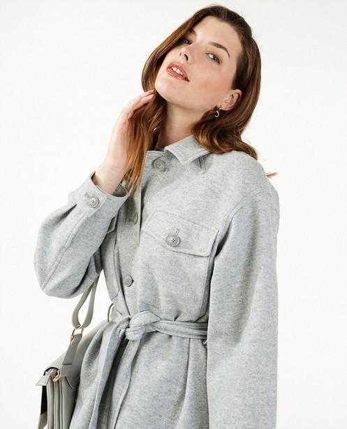Manteau gris en laine Sora - ceinture à nouer - Sora
