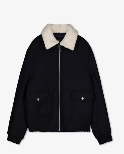 Donkerblauwe jas met teddy kraag