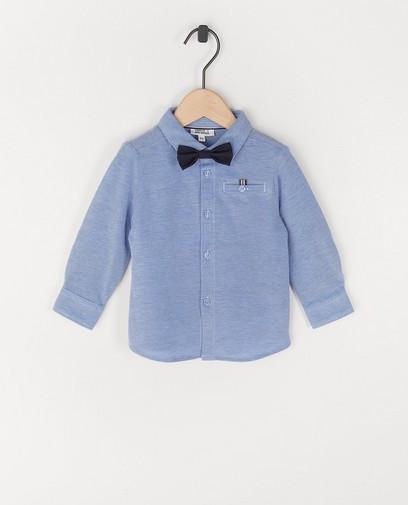 Lichtblauw hemd met strikje Feest