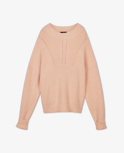 Roze trui met gebreide rib Sora