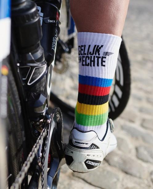 Unisex sportkousen in wit Santini - Kom op tegen Kanker - Kom op tegen Kanker