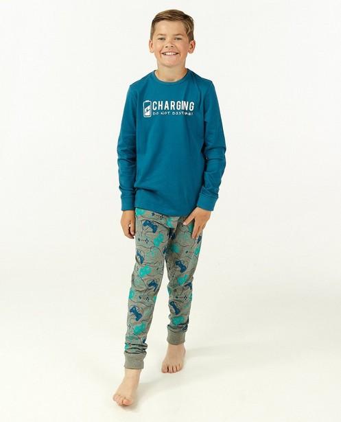 Blauw-grijze pyjama met print - meegroeibroek - Fish & Chips