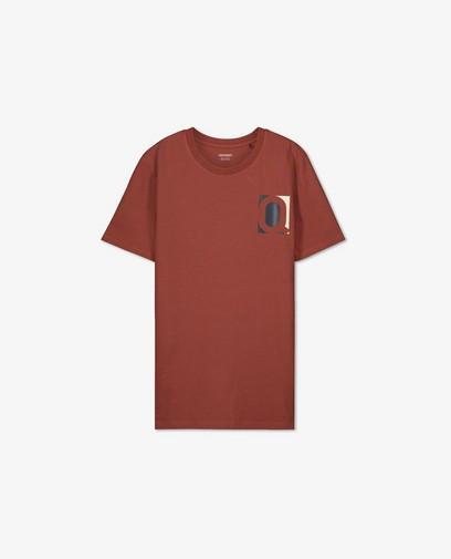 Biokatoenen T-shirt in roodbruin