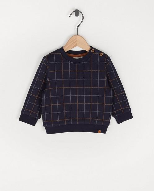 Blauwe sweater met ruiten Feest - premium - Cuddles and Smiles