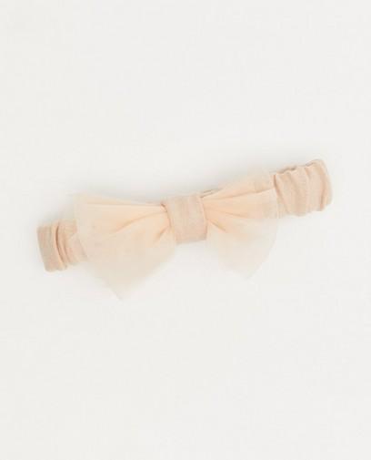 Lichtroze haarband met strik Feest