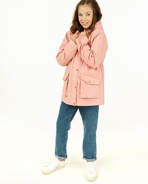 Veste caoutchoutée rose avec de la fourrure - veste de pluie - Fish & Chips