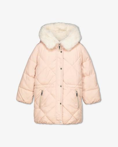Manteau d'hiver rose avec de la fausse fourrure