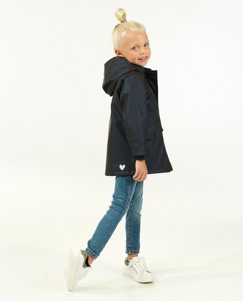 Veste caoutchoutée bleue à capuchon - et fourrure - Milla Star