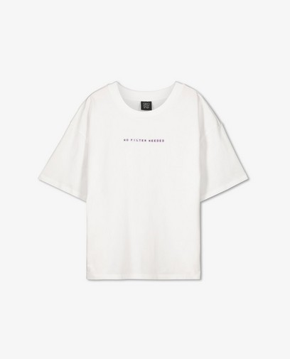 Biokatoenen T-shirt met opschrift