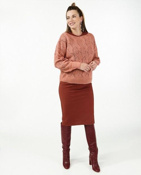 Roze trui met ajour JoliRonde - zwangerschap - Joli Ronde