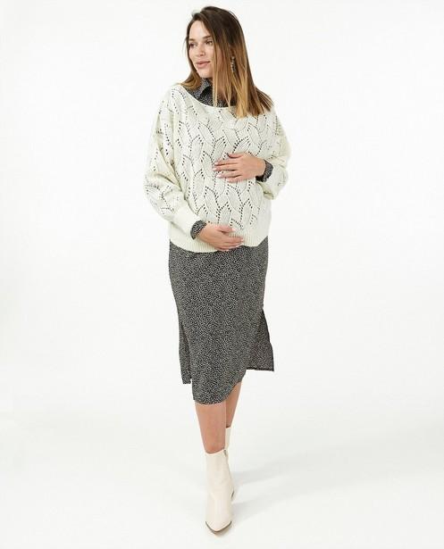 Pull blanc avec motif ajouré JoliRonde - grossesse - Joli Ronde