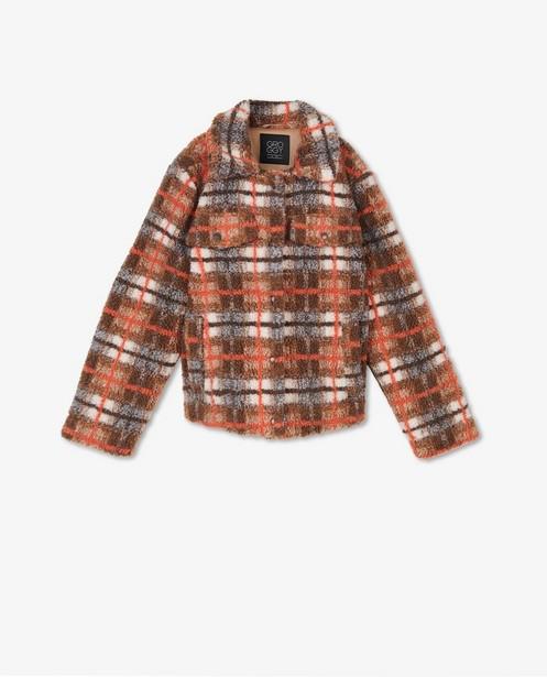 Bruine jas met ruiten - oranje - Groggy