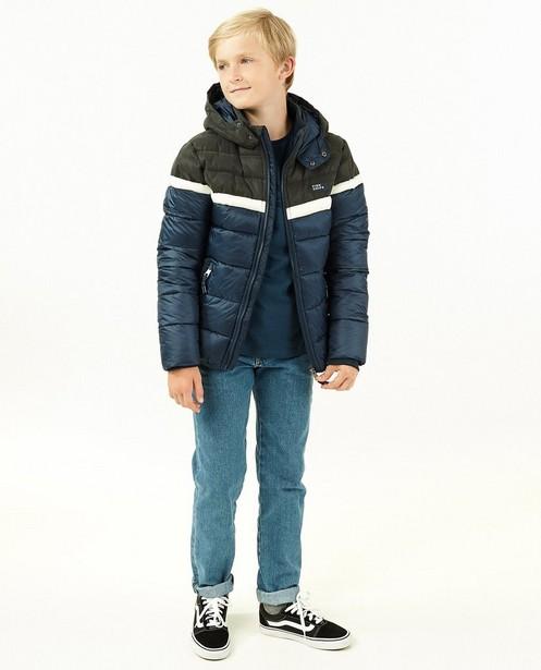 Donkerblauwe jas met color block - met rib - Fish & Chips