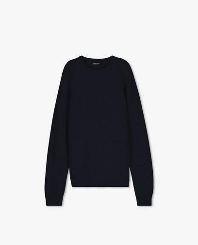 Donkerblauwe trui met gebreid patroon