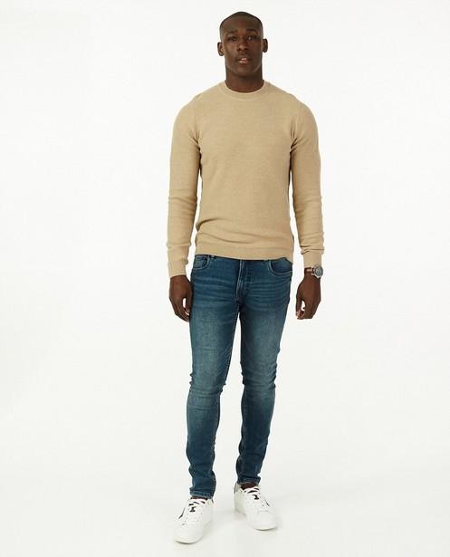 Beige trui met gebreid patroon - stretch - Iveo