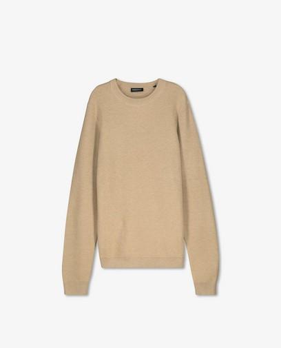 Beige trui met gebreid patroon