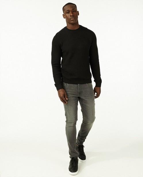 Zwarte trui met gebreid patroon - stretch - Iveo