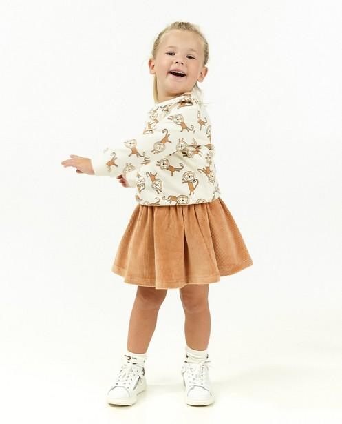Oranje rok van ribfluweel - stretch - Milla Star