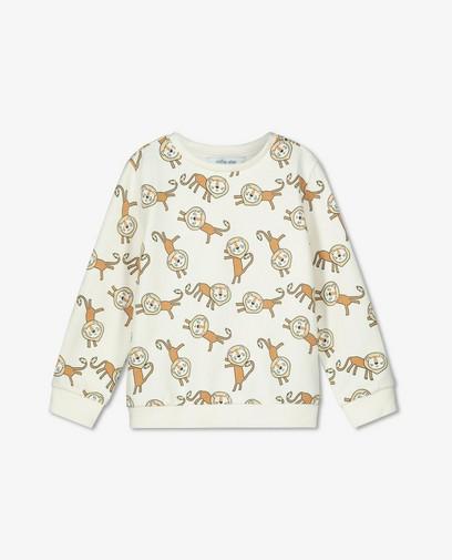 Biokatoenen sweater met leeuwenprint