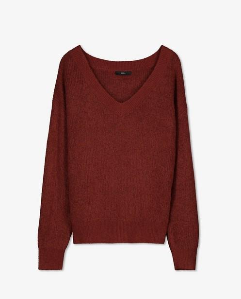 Pull brun rouge avec un col en V Sora - coupe ample - Sora