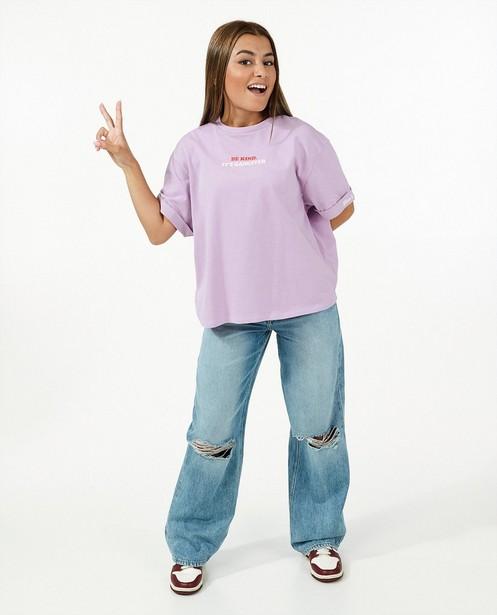 Biokatoenen T-shirt Nour en Fatma - met opschrift - Nour en Fatma