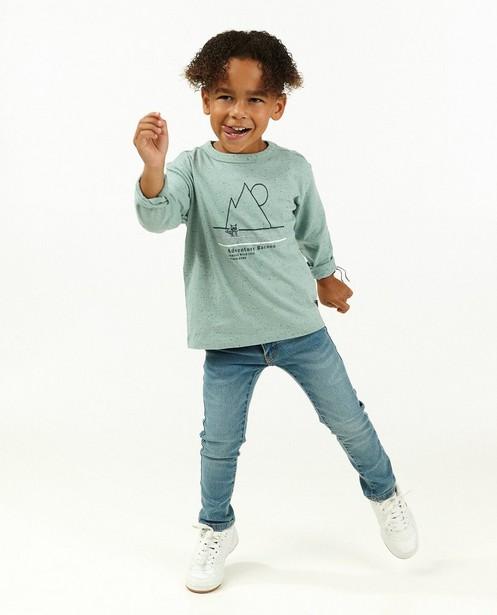 T-shirt à manches longues en coton bio à imprimé Maya - bleu clair - Maya