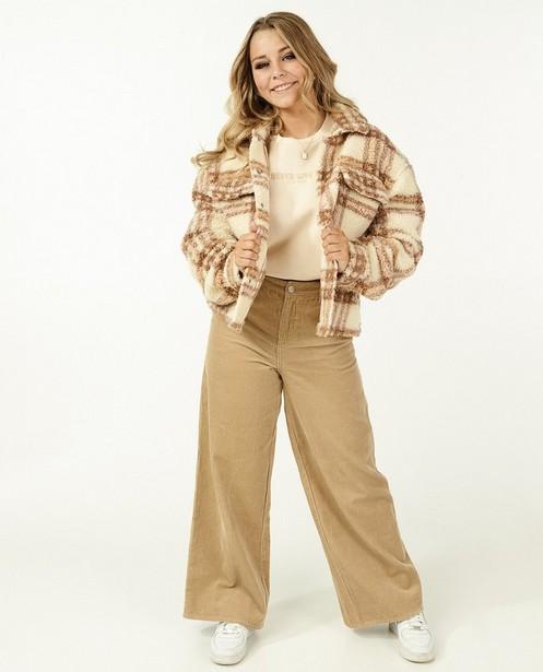 Veste teddy beige à carreaux Steffi Mercie - coupe boxy - Steffi Mercie