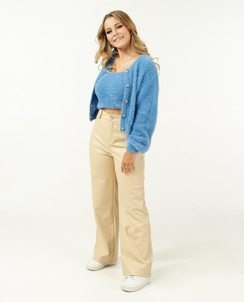 Blauwe fuzzy cardigan Steffi Mercie - van fijne brei - Steffi Mercie