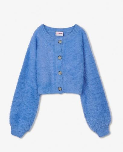 Blauwe fuzzy cardigan Steffi Mercie