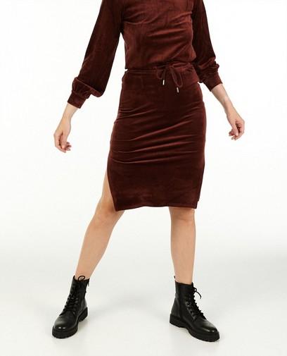 Jupe brun rouge en velours côtelé Sora