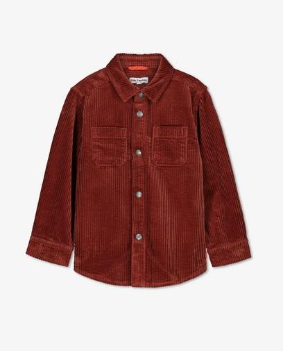 Roodbruin ribfluwelen overhemd, 2-8 jaar