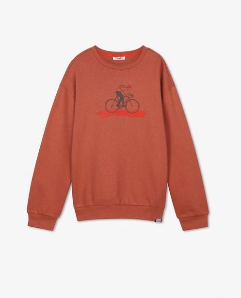 Oranjerode sweater met print - van een fietser - Fish & Chips