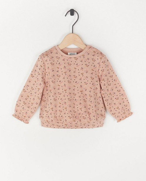 Sweat rose avec imprimé fleuri - avec du stretch - Cuddles and Smiles