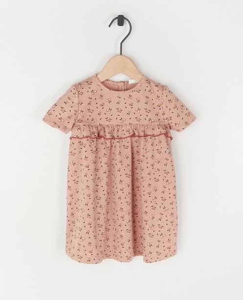 Roze jurk met bloemenprint - met ruches - Cuddles and Smiles