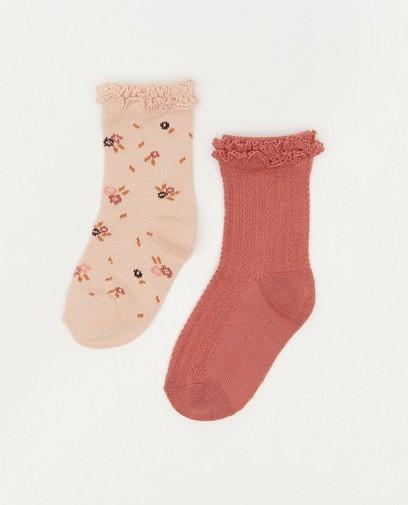 Set van 2 paar roze babykousjes