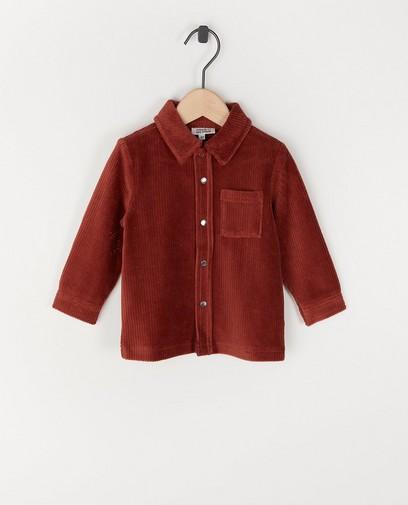 Surchemise brun rouge en velours côtelé