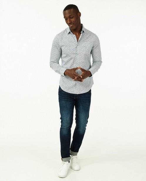 Wit hemd met blauwe bloemenprint - slim fit - Iveo