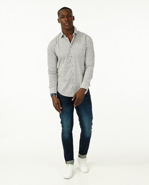 Wit hemd met groene bloemenprint - slim fit - Iveo
