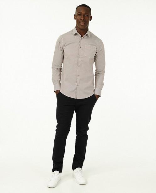Hemd met bruine stippenprint - met slim fit - Iveo